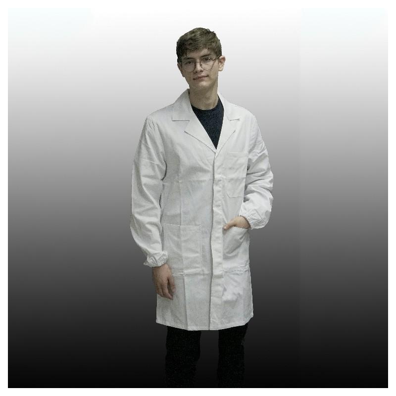 Bottoni a Pressione abbottonatura Alta Camice Antiacido da Laboratorio Bianco con Elastico ai Polsi